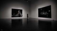 At The Gallery (Janey Song) Tags: gallery girl blackwhite bw indoors vancouvercanada canon5dmarkiii ef1635mmf28liiusm omot cans2s reflection peoplesilhouettes