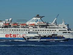 Sunrise Lines' 'San Nicolas' and ETS cruise ship 'Delphin', eme, Turkey (Steve Hobson) Tags: eme turkey sunrise lines san nicolas ets cruise ship ferry