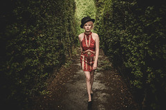 The Walk of Life (sophie_merlo) Tags: model models maze hedges path walking hat woman girl bowlerhat life puzzle journey