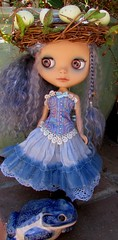 Big Blue Toad (SJB Dolls) Tags: blythe doll custom zaloa blue mohair toad