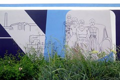 Decorated bunker in La Pallice / La Rochelle (Sokleine) Tags: graffiti grafitti bunker industrialheritage industry 17 charentemaritime fresque mural streetart lapallice larochelle parking blockhaus