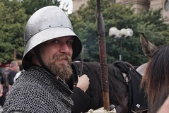 The smiling knight in shining armour (beyondhue) Tags: knight shining armour costume medieval reenactment prague coronation silver beyondhue czech republic man portrait hat metal charles