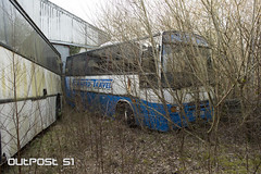 Abandoned Bus and Trucks (Outpost 51) Tags: denbigh north wales mental asylum decay abandoned building architecture hospital demolition nhs health care illness cure disease display derelict deserted destroyed outdoor demolish abandonedplaces abandonedjunkies abandonedphotography abandonseekers abandonedbuildings abandonallhope ittuesday igurbex icurbex grimelords grimenation dereliction decaynation urbanexploration urbandecay urbexsupreme urbexrebels photography england dunlop rubber factory industry mechanical job work life industrial truck lorry