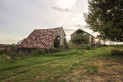 Old Weathered Barns (SteveFrazierPhotography.com) Tags: weathered wood wooden barn old bardolph mcdonoughcounty illinois il landscape scenery scene sunset stevefrazierphotography sky clous canoneos60d country countryside farm farming farmland outdoor