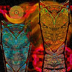 Cosmic Totems (virtually_supine popping in and out) Tags: artisticmanipulationgroupmixmaster10challenge chefskagitrenee blackbackground mirrorimageswithfaces kaleidoscopes creative photomanipulation computergeneratedart digitalartwork vividcolour glow sparkle layers textures photoshopelements13mac kaleidofx2 imageweaving abstraction catlike birdlike