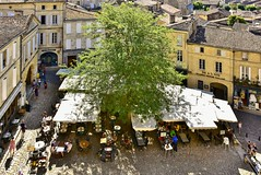 Saint-milion: un incantevole borgo tra i vigneti... (miriam ulivi) Tags: miriamulivi nikond7200 francia aquitania saintmilion piazza albero turisti case street ristoranti bistr