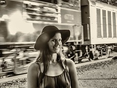 amy_1 (gerhil) Tags: portrait people woman location lifestyle railroad station train outdoor monochrome summer september2016 niksilverefexpro2 vintage motion gesture 1001nights casual cvnp 1001nightsmagiccity