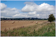 Lanscape Bales & St Helen, West Keal (dark-dawud) Tags: fields bales church lincolnshire westkeal sthelen strawbales buildings trees clouds sky