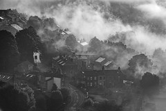 golcar-village (dannyhow2011) Tags: golcar huddersfield village victorian mist fog atmosphere blackandwhite mono nikon