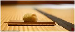 Japanese sweet on tatami (Kodo-kan, Kyoto) (Damien Douxchamps) Tags: japan  japon kansai  kinki  kyoto     central    kodokan kdkan yhisai  japanese sweet