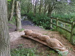 Mice and flittermice (Nekoglyph) Tags: guisborough cleveland yorkshire forest walkway nature steveiredale wooden log chainsaw carving mice mouse cute bats pond trees green sawdust new tails animals