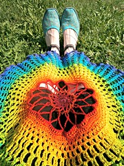 Gradient Rainbowlero - Bohemian Cotton Flower Summer Crochet Vest (babukatorium) Tags: blue red summer orange flower color green art thread fashion yellow vintage circle star sweater rainbow colorful purple handmade turquoise burgundy oneofakin