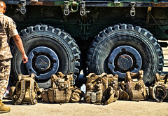 down time (supirvillain) Tags: color dogs boys colors usmc sand iraq wheels backpacks devil michelin lav packs devildogs marpat supirvillain lightarmoredvechicle