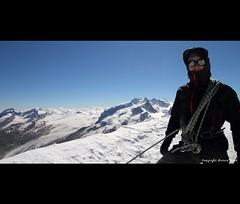 """Breithorn - Summit"" (Marcus Blank Photography) Tags: sun snow ice sunglasses canon eos bluesky rope glacier gloves 7d mountaineering summit monterosa gletscher lense breithorn f4556 dufourspitze mammutjacket sigma816mm chooyujacket blackdiamondharness"