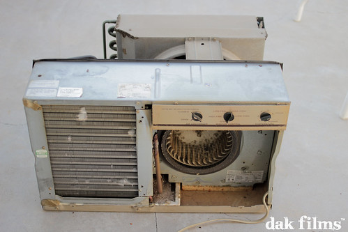 old vintage photography dirty airconditioner