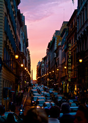 Sunset on the Streets of Rome (Zach Dischner) Tags: city sunset italy sun streets rome roma cars set canon eos colorful purple 7d 1750 scape canon7d 7dtamron europe2012summercanoneos7dcanon