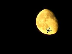 Plane and Moon (rjseg1) Tags: sky moon plane