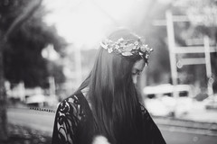 (Amanda Mabel) Tags: park city light sunset portrait blackandwhite sun black flower leaves butterfly hair soft eyelashes bokeh lace lightleak wreath lensflare delicate sideprofile hairband flowergarland amandamabel
