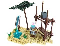 Oasis (Gabe Umland) Tags: tree water robot sand scaffolding post lego tyler oasis scaffold tropic bot nannan apocalyptic apoc slues legohaulic