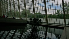 Inside the MET 7/31/12 (Moon Man Mike) Tags: new york city nyc windows distortion reflection art fountain pool museum architecture canon reflecting well penny efs 1022mm pennies metropolitanmuseum 30d wiching