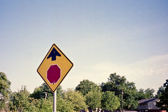 Stop Up (clee130) Tags: red sky green film ahead sign yellow analog zeiss 35mm point photography shoot fuji superia ps contax stop stopsign 400 carl fujifilm pointandshoot expired t2 contaxt2 xtra carlzeiss pns superiaxtra stopahead superiaxtra400 plustek 7400 plustek7400