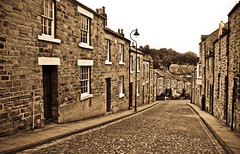 Top of Neville Street, Durham City, North East England, UK. (CWhatPhotos) Tags: pictures road street old city uk england cars sepia canon that lens photography eos foto durham with image artistic zoom pics north picture free pic images cobbled east have photographs photograph fotos parked usm void dslr cobbles which ef 1740mm f4 contain neville nocars lseries f4l 450d nevile cwhatphotos