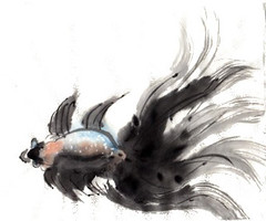 Black Fantail (inkophile) Tags: fantail chinesebrushpainting