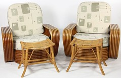 2048. Paul Frankl Pair of Rattan Chairs and Stools