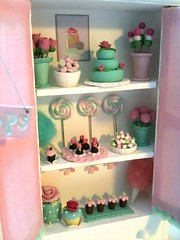 custom confectionery cabinet (Pinks & Needles (used to be Gigi & Big Red)) Tags: sculpture wool cake felted miniature cabinet desserts polkadots cupcake clay handpainted sweets quilted cottoncandy etsy lollipops confectionery sculpted gigiminor pinksandneedles pillowmints mermaidcandy anniekight ahrdcandy
