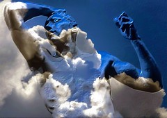 Head In A Cloud (-Jeffrey-) Tags: iphoneography art artistic snapseed abstractme man clouds portrait statue posing sky blue white face arms hand iphoneart mobileart