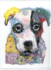 Chigirie Pop Art Pet - Caleb (Robin Panzer Art Studio 33) Tags: portrait dog pet art robin collage paper studio all 33 pit bull pop rights torn pup custom panzer chigirie