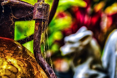 Rusted (hbmike2000) Tags: red glass nikon rust iron bokeh gargoyle rusted d200 hdr cobwebs ourdailychallenge hbmike2000 beginswithr candlyholder