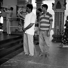 Puja in Sri Srinivasa Perumal Temple - Singapore (waex99) Tags: film rollei temple singapore religion august hasselblad sri ritual devotee hindu puja 2012 400asa 500cm rdx perumal srinivasa indou fidle rpx 2012hassie12