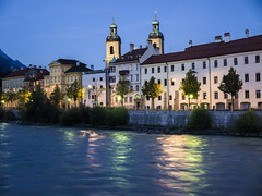 Dusk over River Inn (HClaireB) Tags: austria cathedral dusk towers tyrol innsbruck riverinn
