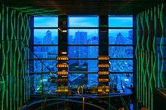 Framed Blue Hour (marco ferrarin) Tags: bluehour tokyo japan frame window bar hotel tower view levitation glassart waterfall akasaka light perspective bartender   kioicho  tokyotower sky city urban travel happyhour restaurant lounge atrium arrivalexperience
