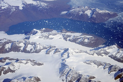 Aerial view of glaciers, moraines, and icebergs, eastern Greenland (cocoi_m) Tags: aerialphotograph aerial ice snow glacier iceberg greenland nature geology geomorphology moraine