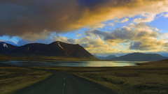 someone else was out there (lunaryuna) Tags: iceland westiceland snaefellsnespeninsula landscape panoramicviews mountainrange fjord road driving ontheroadagain anothercar sky clouds cloudscape sunset sundown dusk nightfall water colours journey viyage drive travel spring season seasonalchange lunaryuna