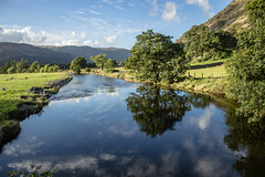 Reflected trees (allybeag) Tags: reflected trees reflections river patterdale glenridding ullswater sky fells sheep blue green