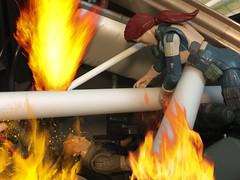 Saving Duke From The Flames (PinewoodCobra) Tags: gi joe scarlett duke bomb fire headquarters