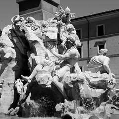 Fontana dei quattro fiumi. (GiannLui) Tags: fontana fontanadeiquattrofiumi fontanadeifiumi bernini barocco obelisco nilo gange danubio riodellaplata roma 16agosto2016 piazzanavona borromini santaagneseinagone santaagnese