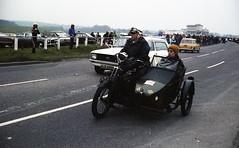 Motorcycle with Sidecar. Reg: F 8760 (bertie's world) Tags: sunbeam pioneer run 1979 epsomdowns motorcycles motorcycle sidecar reg f8760