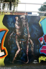 Borsbeek zombie slime (Red Cathedral uses albums) Tags: sony a6000 sonyalpha mirrorless streetart graffiti alpha aztektv borsbeek tunnel yellow geel fransbeirenslaan zombie undead residentevil thewalkingdead horror eerie mcrnovel urbanart vandals