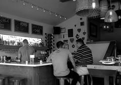 Bien Trucha, Geneva. 1 (4s) (Mega-Magpie) Tags: iphone 4s indoor bien trucha geneva kane county il illinois usa america bw monochrome black white people person guy man men dude bartender booze liquor