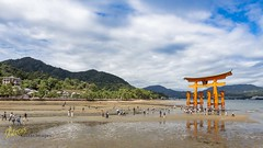 Itsukushima Shrine - low tide (Kostas Trovas) Tags: itsukushima hdrfromoneraw asia nature ef1740f4 canon lowtide minimalist shrine landscape tourists hiroshima japanese torii beautiful travel clouds miyajima 6d sky gate buddhism temple japan traditional