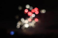 Blue White Red (markusbeyer1) Tags: bokeh colorfullights color sonyrx100iii blobs night dark light spots france