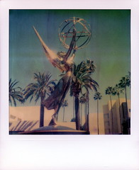 Emmy 2 (tobysx70) Tags: polaroid sx70 timezero artistictz artistic tz atz tza film expired 0909 the impossible project tip digitally manipulated color emmy award academy of television arts and sciences lankershim blvd boulevard north hollywood los angeles la california ca gold golden statue statuette andtheemmygoesto andtheemmyisawardedto palm trees toby hancock tobyhancock