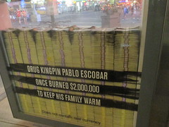Narcos Bus Shelter Pile O Money AD 5227 (Brechtbug) Tags: narcos tv show bus stop shelter ad with piles slightly singed real fake money or is it 2016 nyc 09102016 midtown manhattan new york city 49th street 7th ave st avenue moola bogus