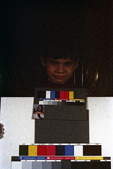 33-686 (ndpa / s. lundeen, archivist) Tags: nick dewolf nickdewolf 33 reel33 color photographbynickdewolf 1970s 1972 fall film 35mm winter 1973 child boy son ivan colortest shirleycard colors grayscale spectrum