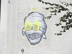 StreeTart1 (scottfreek) Tags: scottfreek street art vancouver downtown yellow dollar sign tooth bandages mummy mwbowenartist