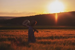You are the music in me. (Pat Vogel) Tags: light sunset summer music mountains hat landscape gold guitar